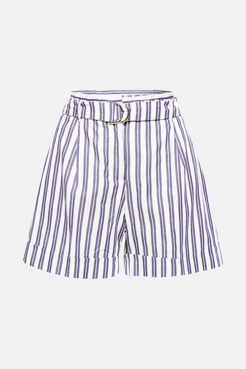 These cotton shorts in a summery retro chic design have a stylish pleated paperbag waistband and fabulous marquee stripes!