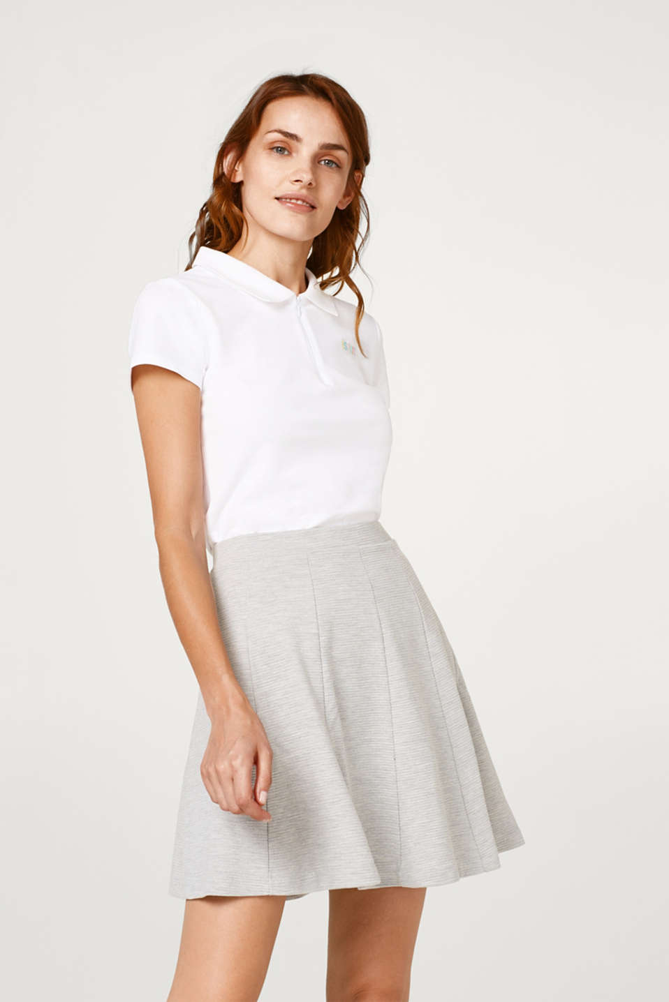 Esprit - Wide, swirling jersey skirt with a ribbed texture