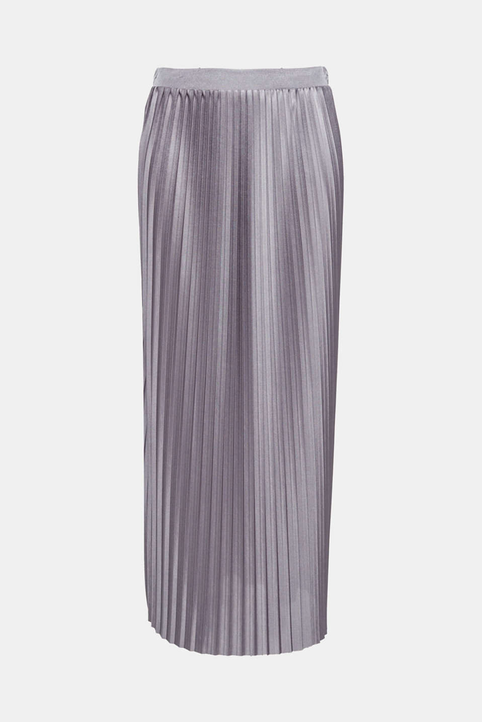 Chic and stylish yet oh so simple, this maxi skirt features fine pleats, an elasticated waistband and an elegant, shimmering finish!