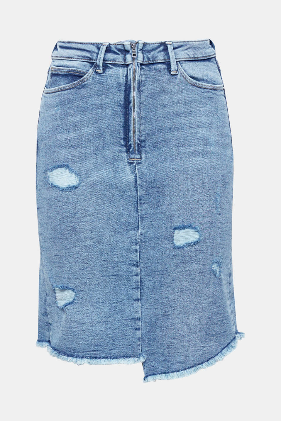Makes a super cool statement: slightly flared skirt made of stretch denim with an intense vintage finish and a frayed hem!