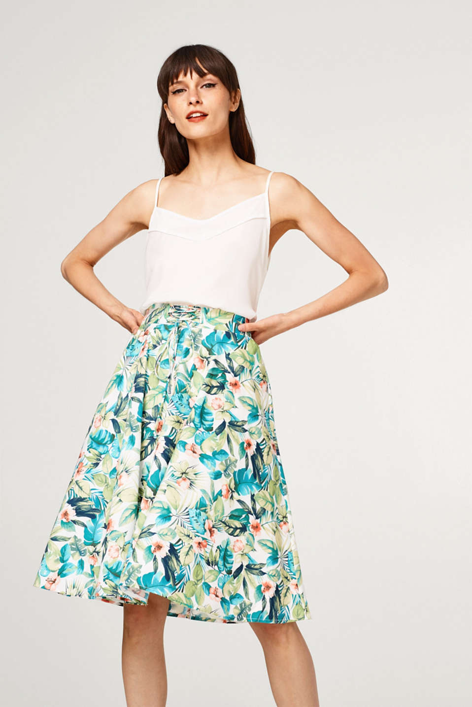 Esprit - Swirling printed skirt made of stretch cotton