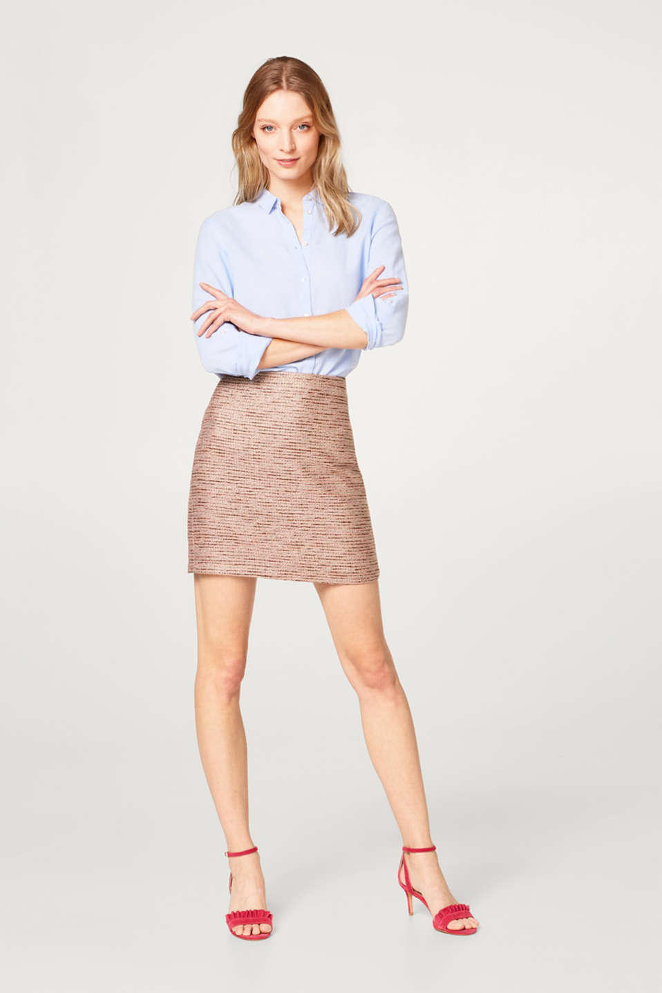 Glittering mini skirt with textured stripes