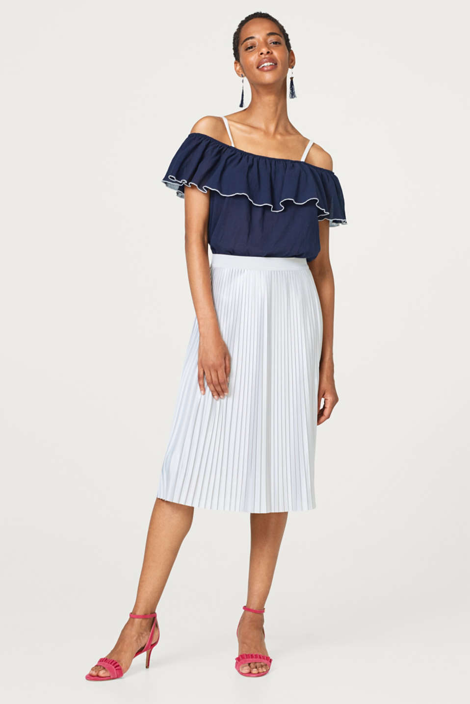 Esprit - Pleated skirt with a fine sheen