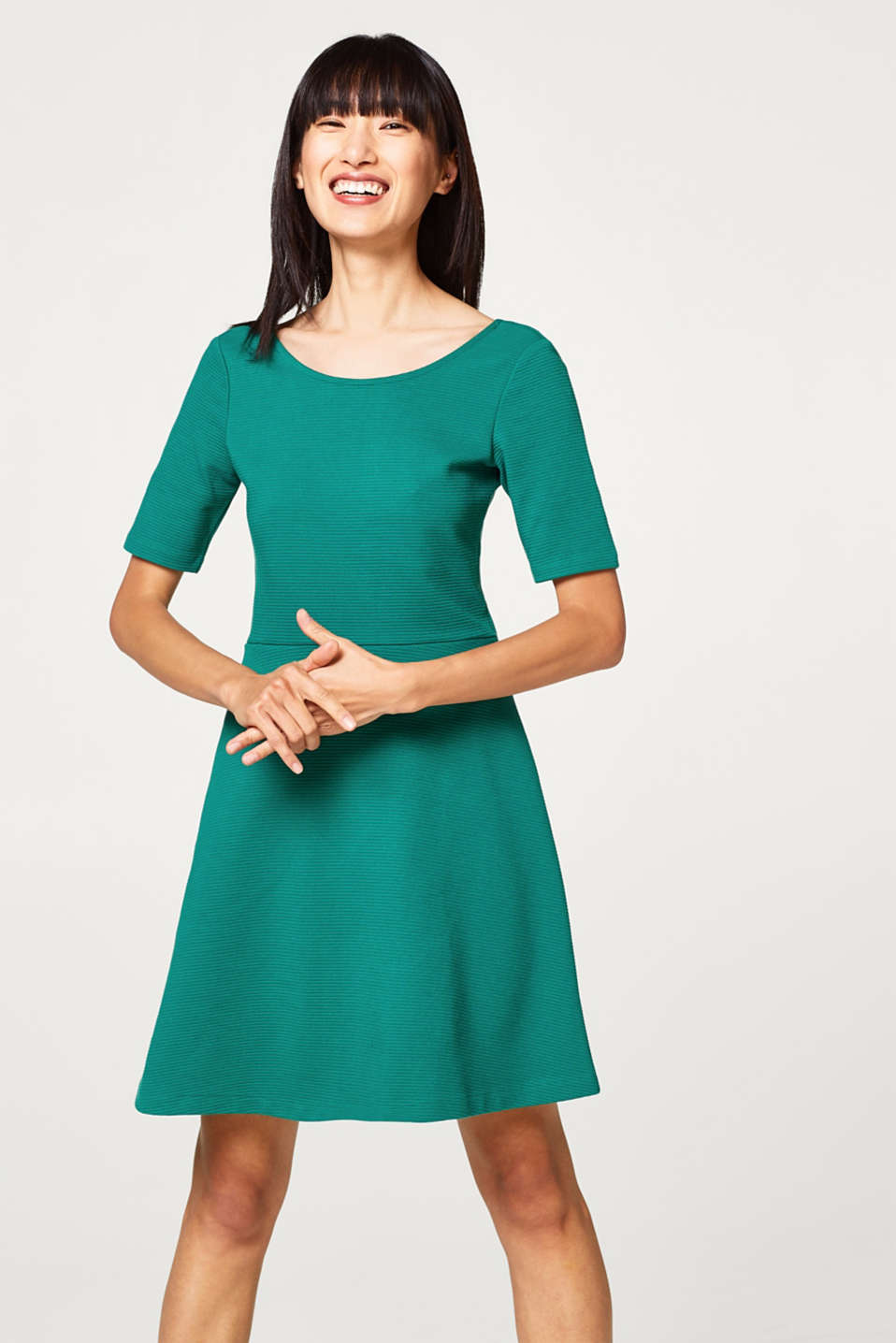 Esprit - Compact jersey dress with a ribbed texture