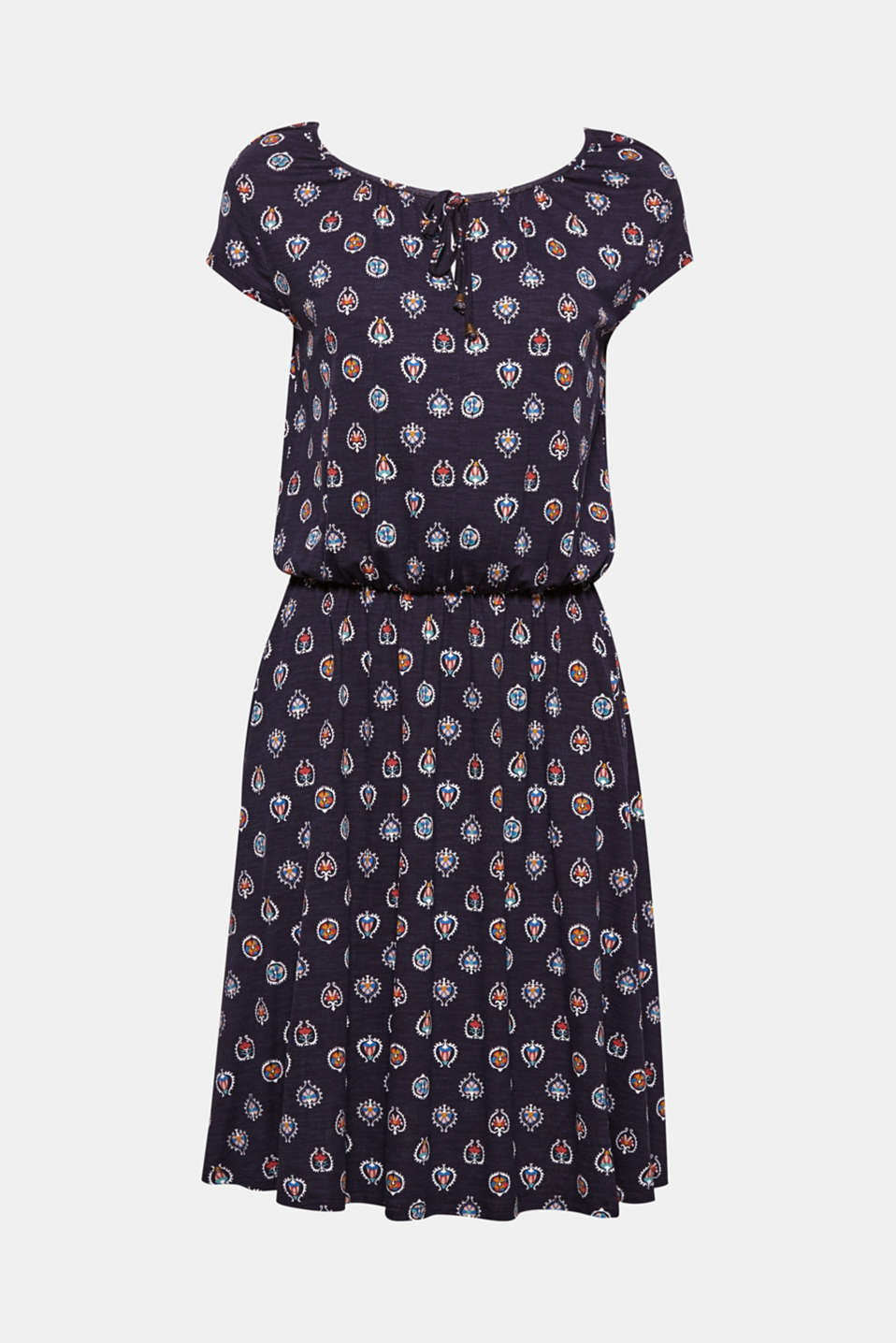 This soft, flowing dress with an elasticated seam and tie detail combines comfort with relaxed design.