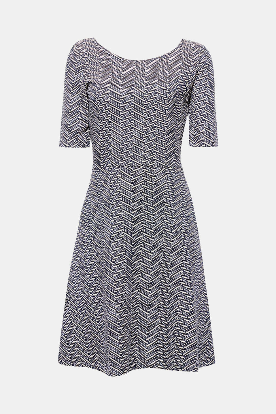 New dresses? Yes please! Here is a design in dense jersey with a striking zigzag texture and a swirling skirt.