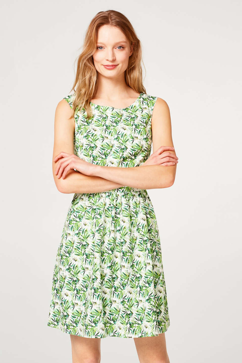 Esprit - Smooth printed dress with cut-outs, 100% cotton