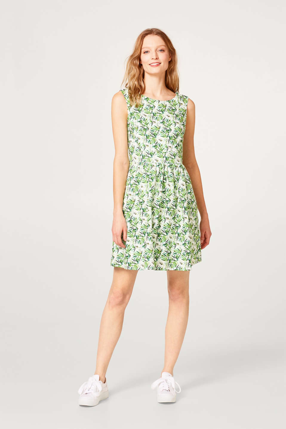 Smooth printed dress with cut-outs, 100% cotton