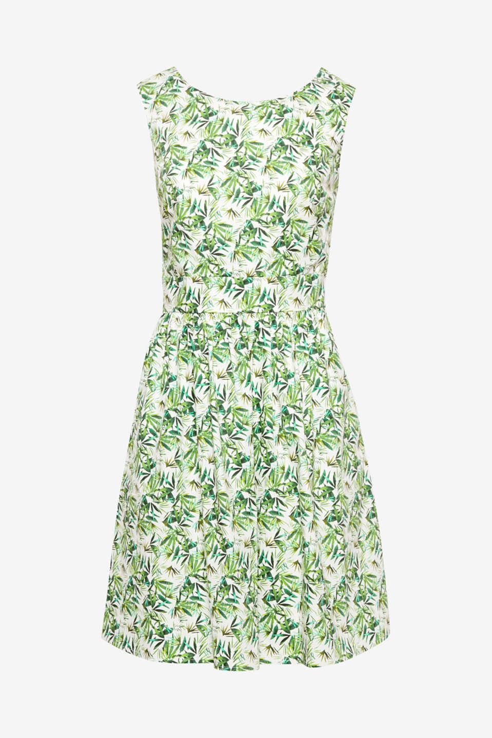 Feel the Fifties... or simply enjoy the summer in this lightweight cotton dress with its lavish palm tree print and retro charm!