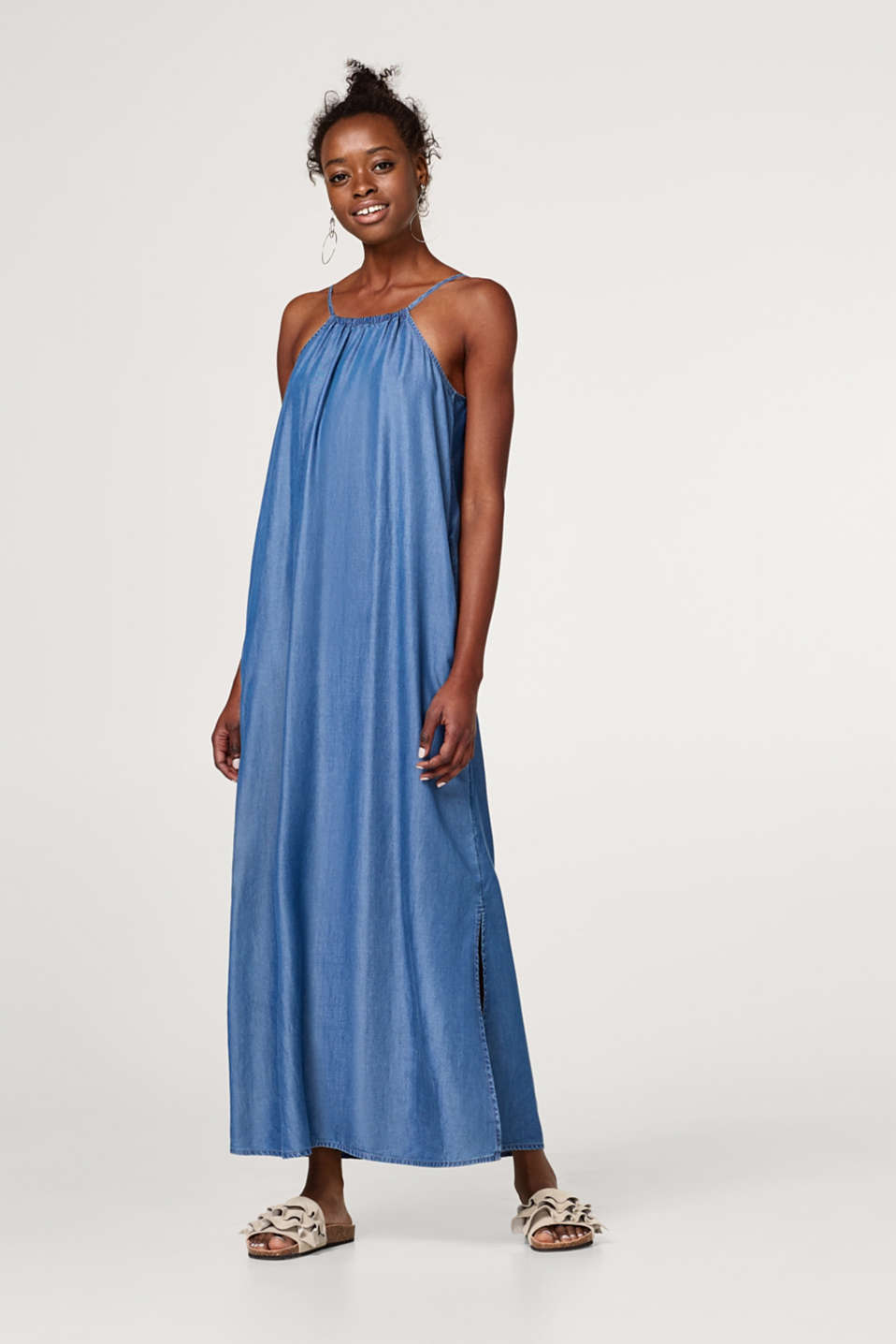 Esprit - Maxi dress in lyocell with lacing on the back