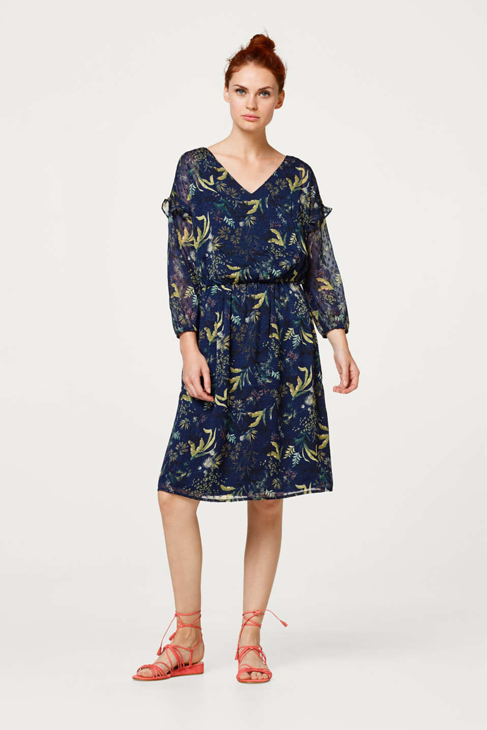 Esprit - Lightweight chiffon dress with woven polka dots and a print