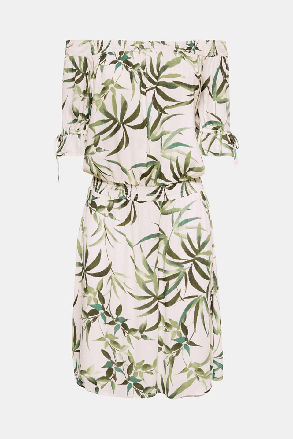 With its pretty sleeves, smocked waist and trendy leaf print, this stylish off-the-shoulder dress is sure to become your new favourite piece!