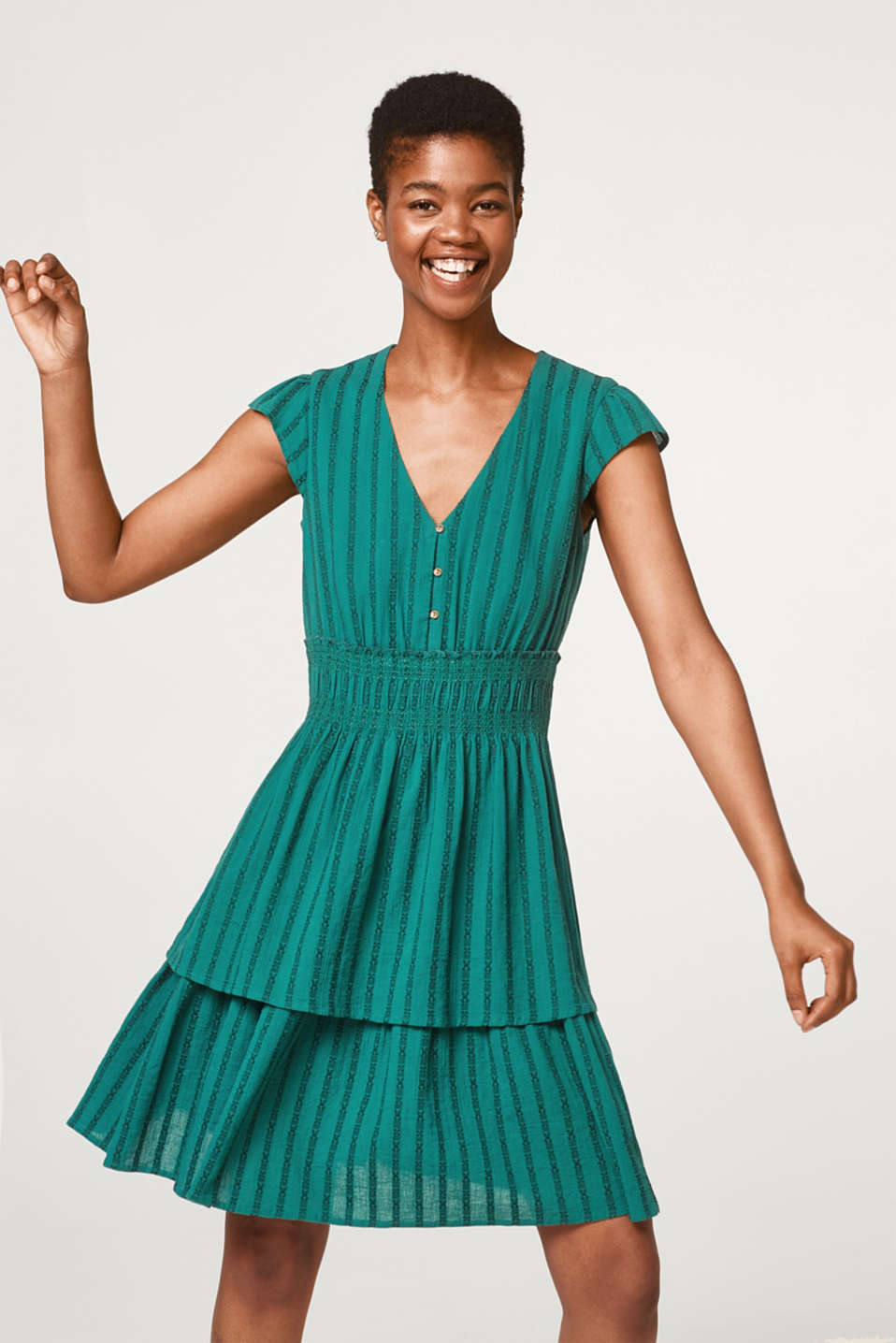 Esprit - Dress with textured jacquard stripes
