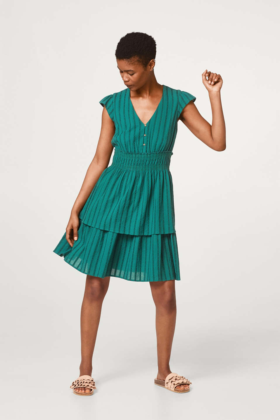 Dress with textured jacquard stripes