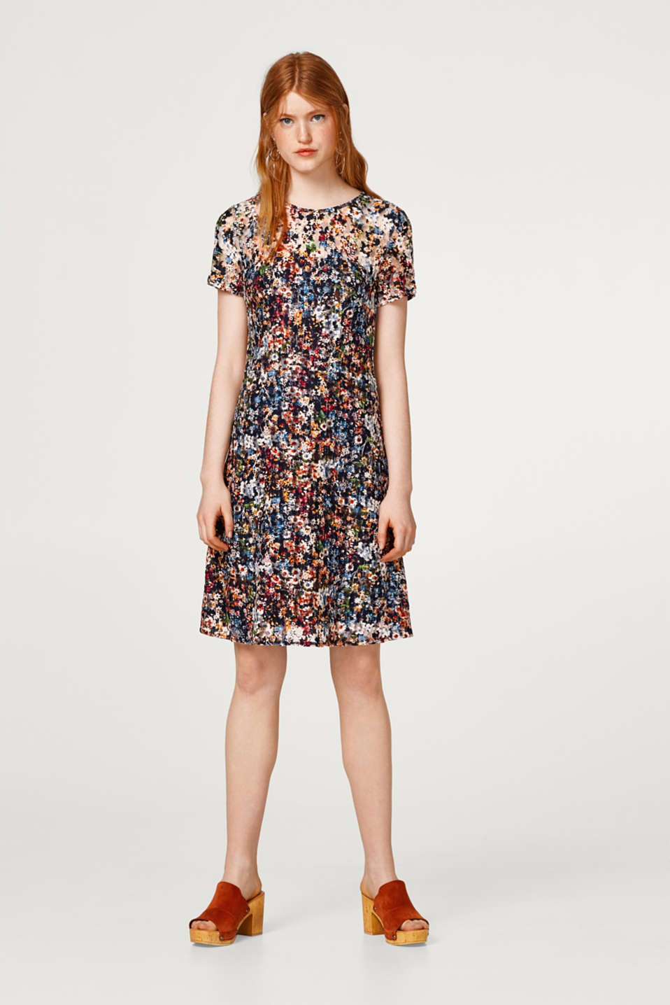 Esprit - Mesh dress with a bright floral print