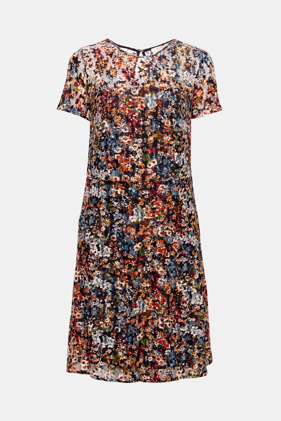 The bright floral print on the sheer, slightly stretch mesh fabric makes this dress with opaque lining and a swirling skirt the perfect summer piece!