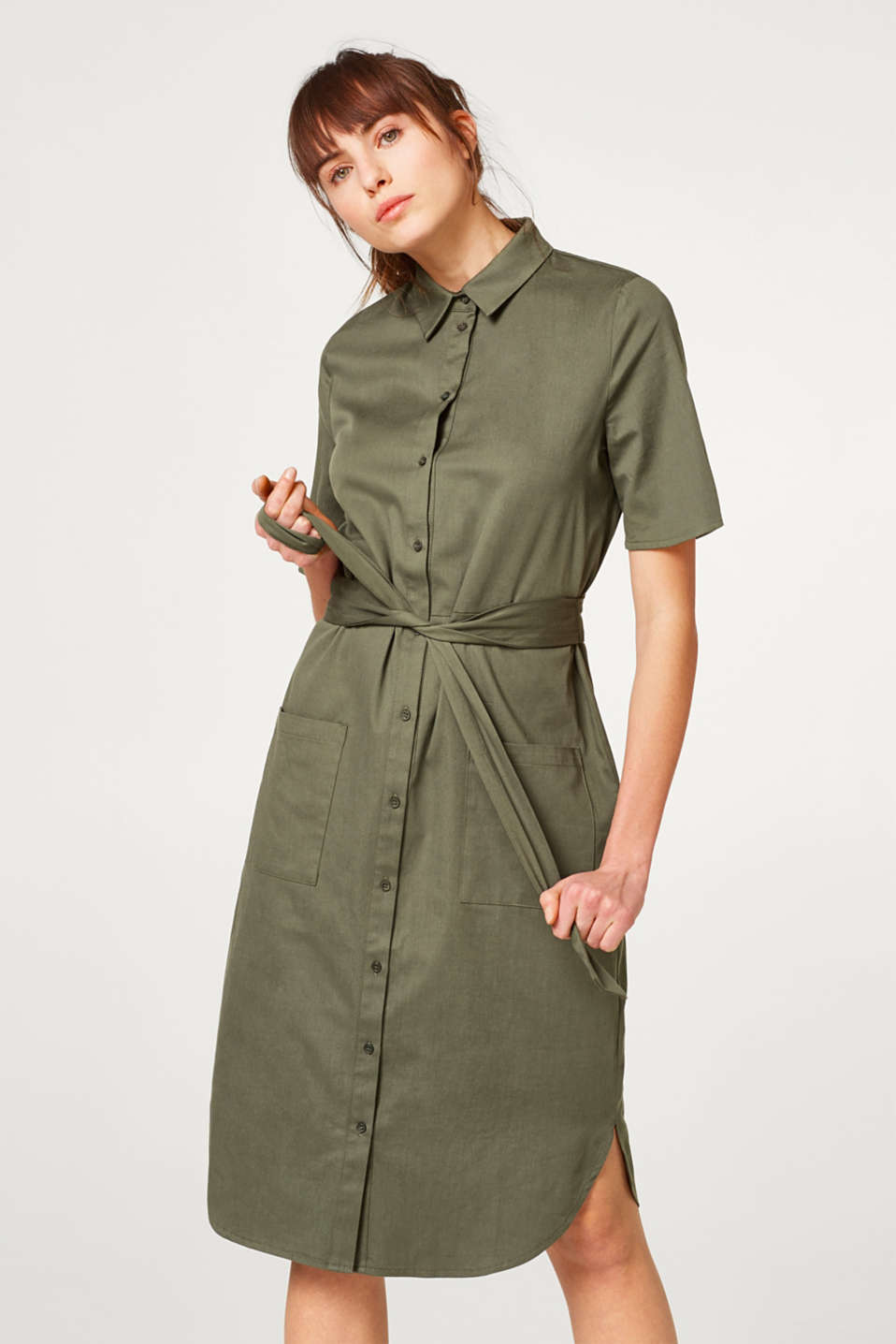 Esprit - Knee-length shirt dress composed of stretch cotton
