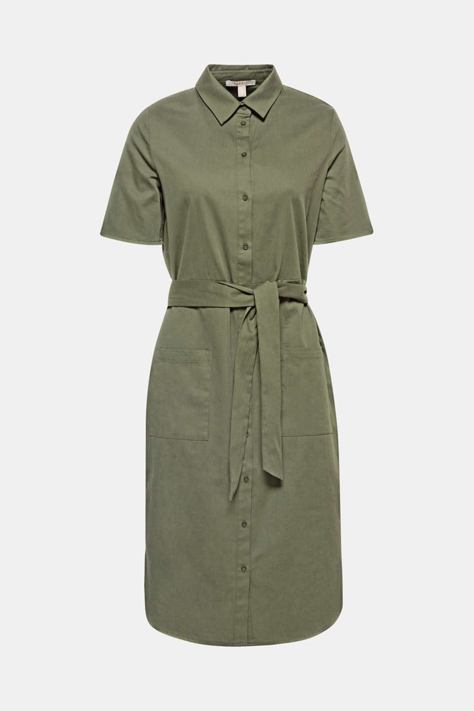 This shirt dress in a feminine military style is composed of lightweight stretch cotton and features a wide tie-around belt, patch front pockets and a rounded hem.