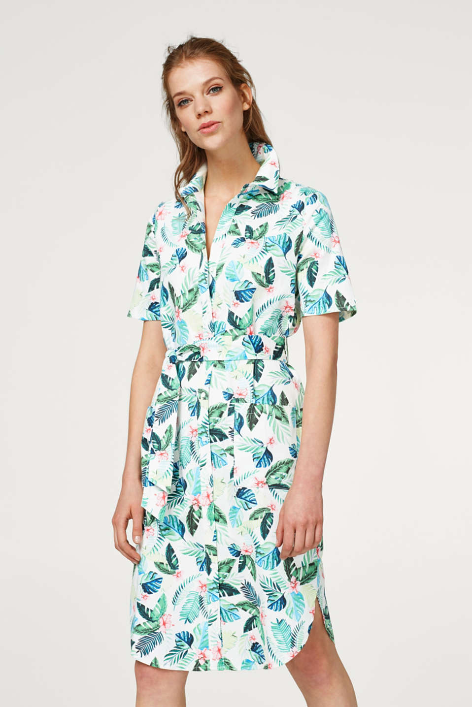 Esprit - Print dress made of stretch cotton with a tie belt