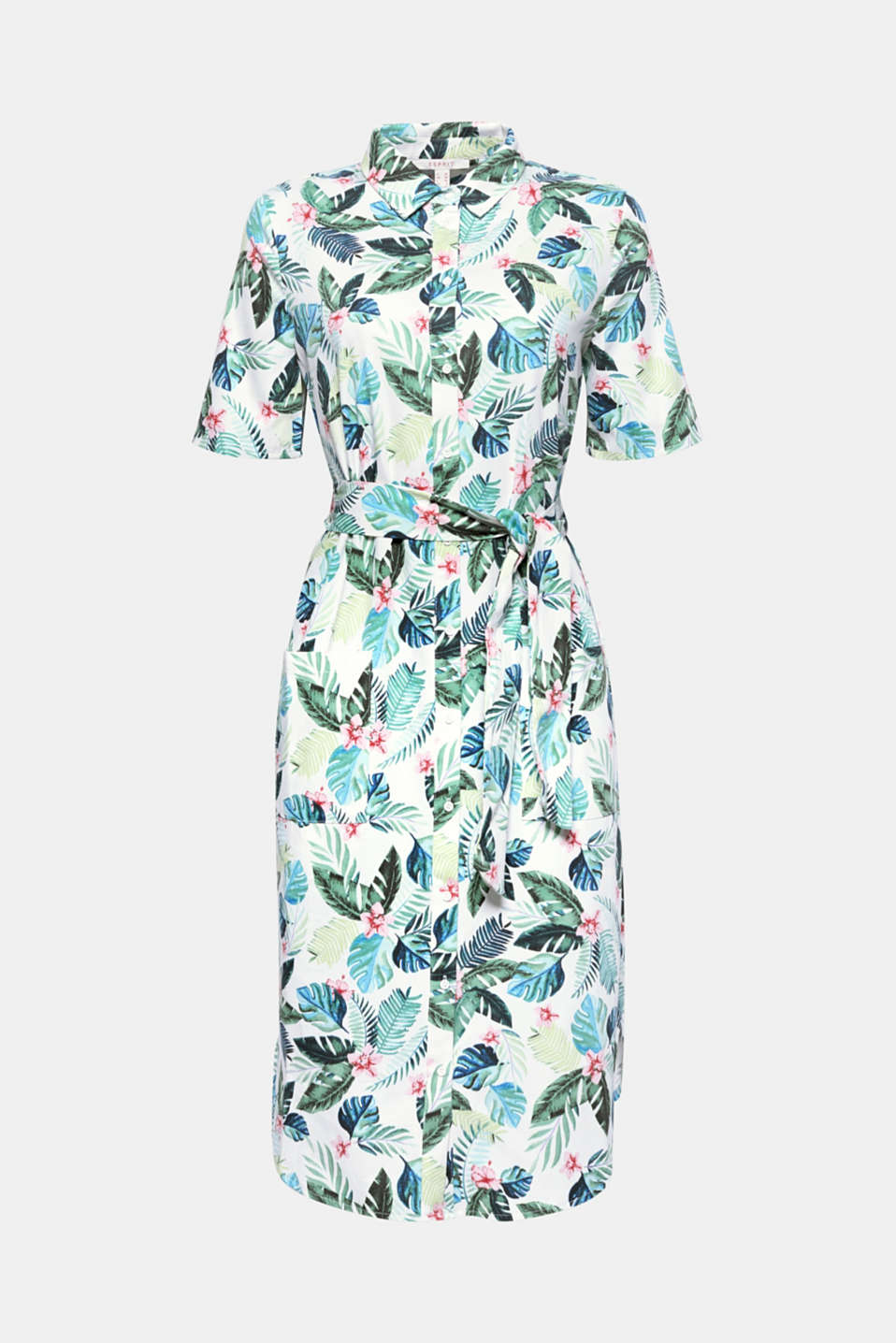 Palm tree prints have now got the power: like on this stylish shirt blouse dress in comfortable stretch cotton!