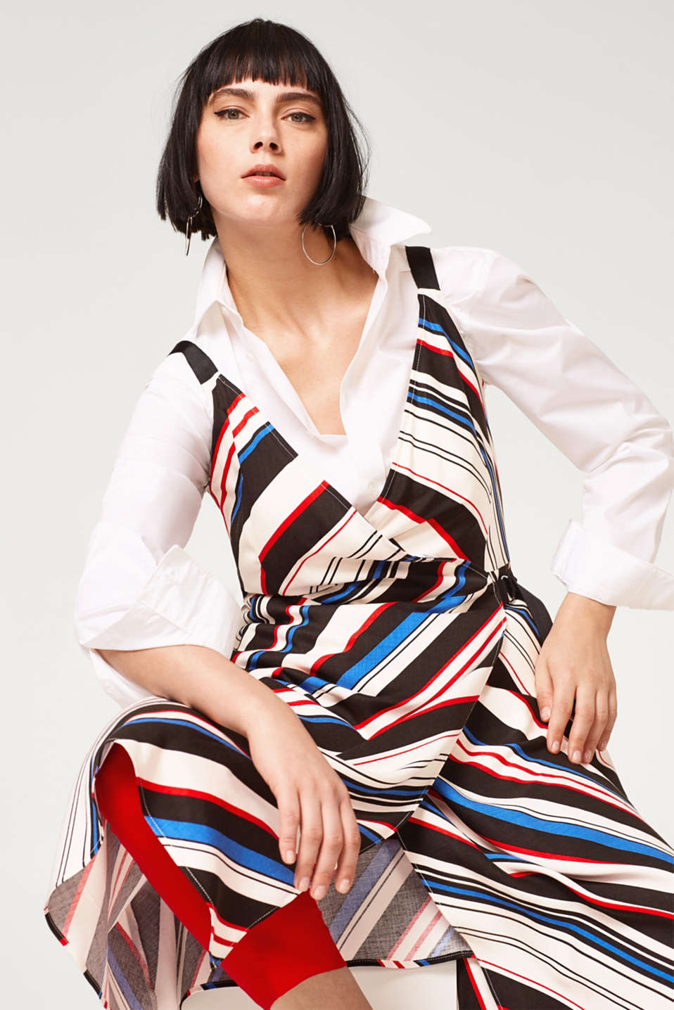 Flowing wrap dress with grosgrain ribbon straps