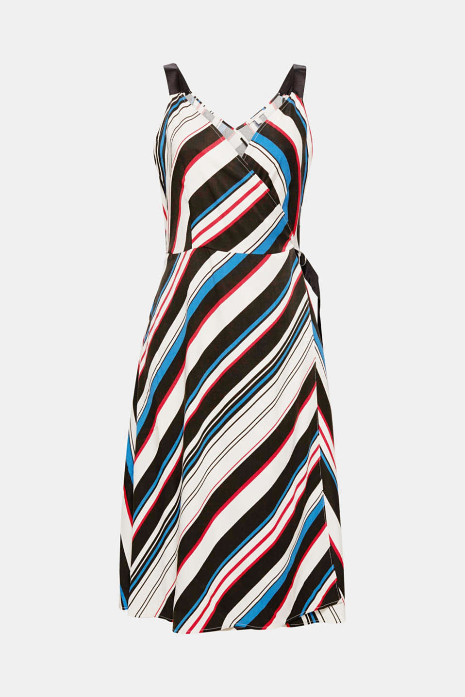Do you want to encourage summer to come around? Then you can do just that in this stylish dress with diagonal stripes, a trendy wrap-over effect and wide grosgrain ribbon straps!