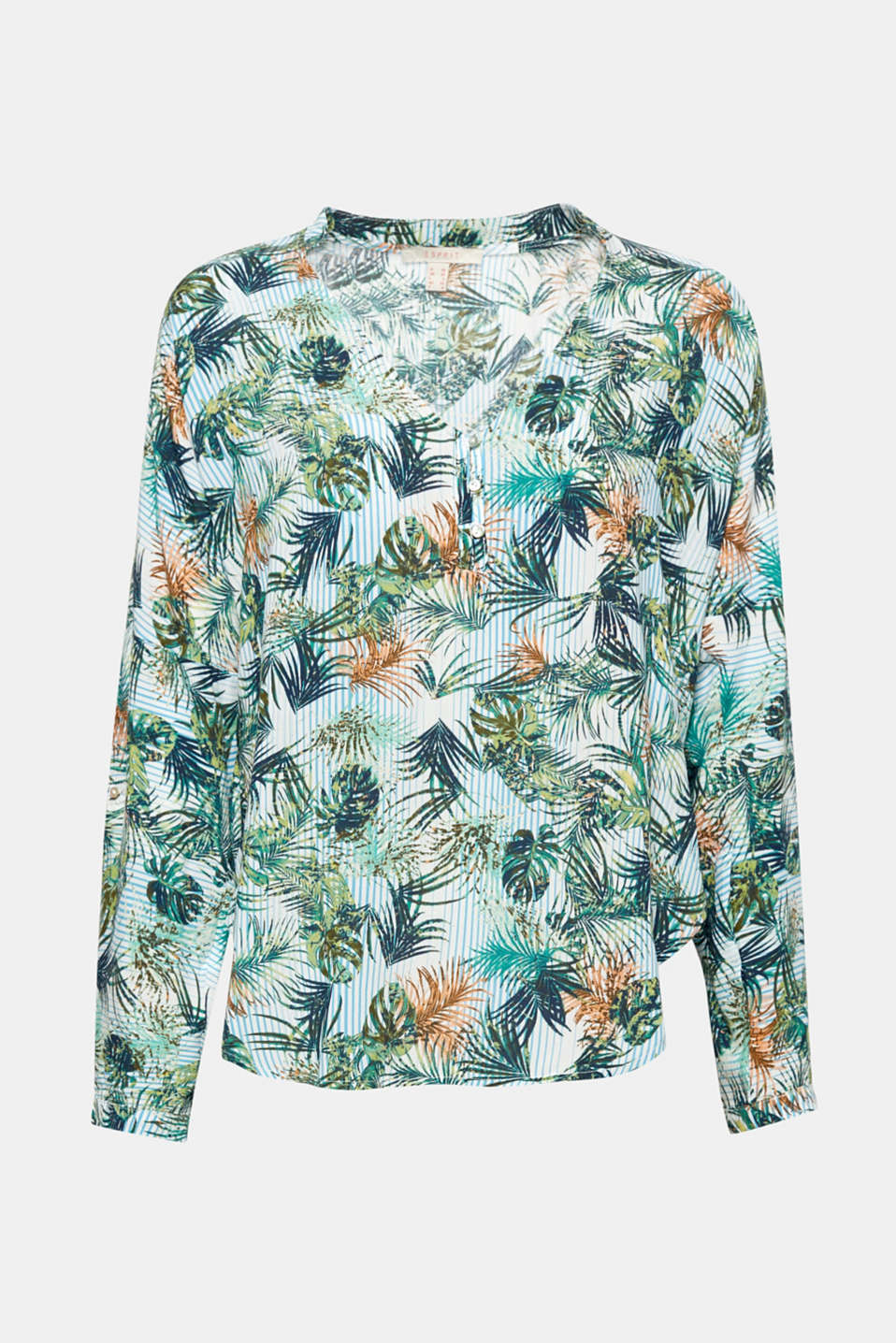 The colourful parrot print brings spring and designer flair to this lightweight Henley blouse with adjustable turn-up sleeves!