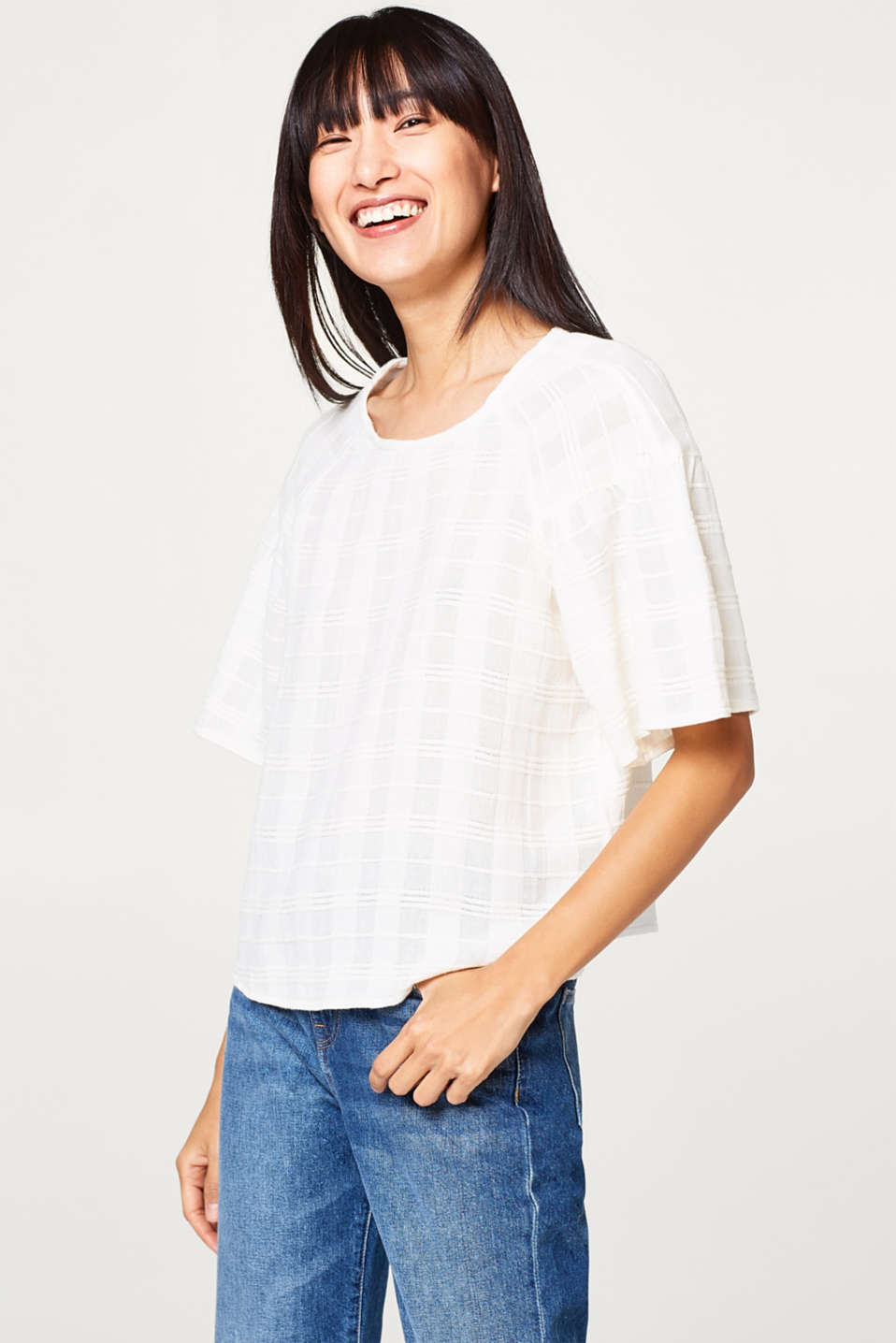 Esprit - Boxy blouse with frilled sleeves, 100% cotton