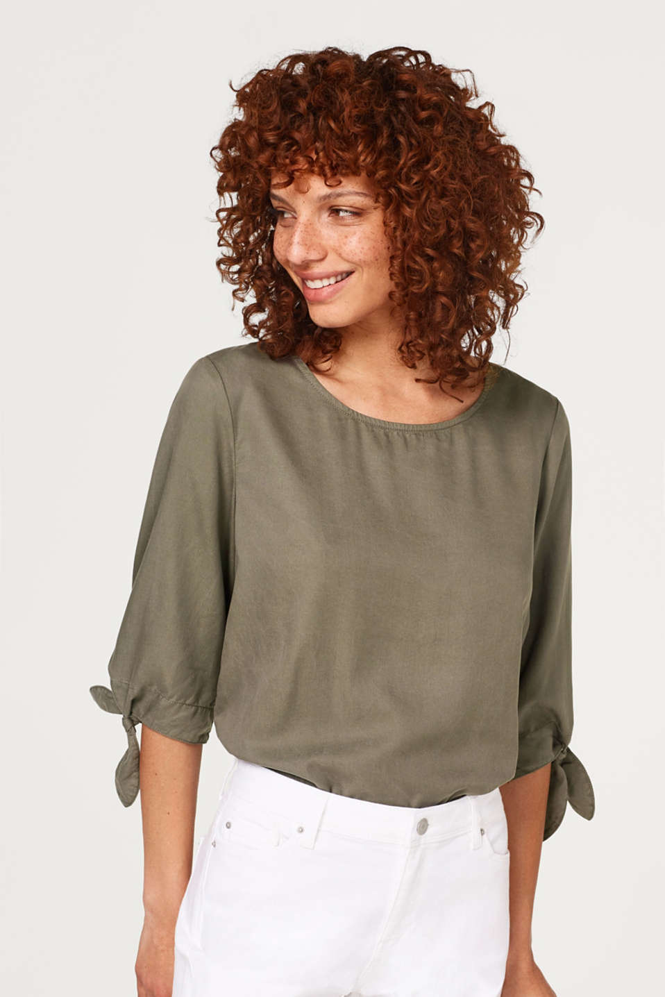 Esprit - Lyocell blouse with bow embellishment