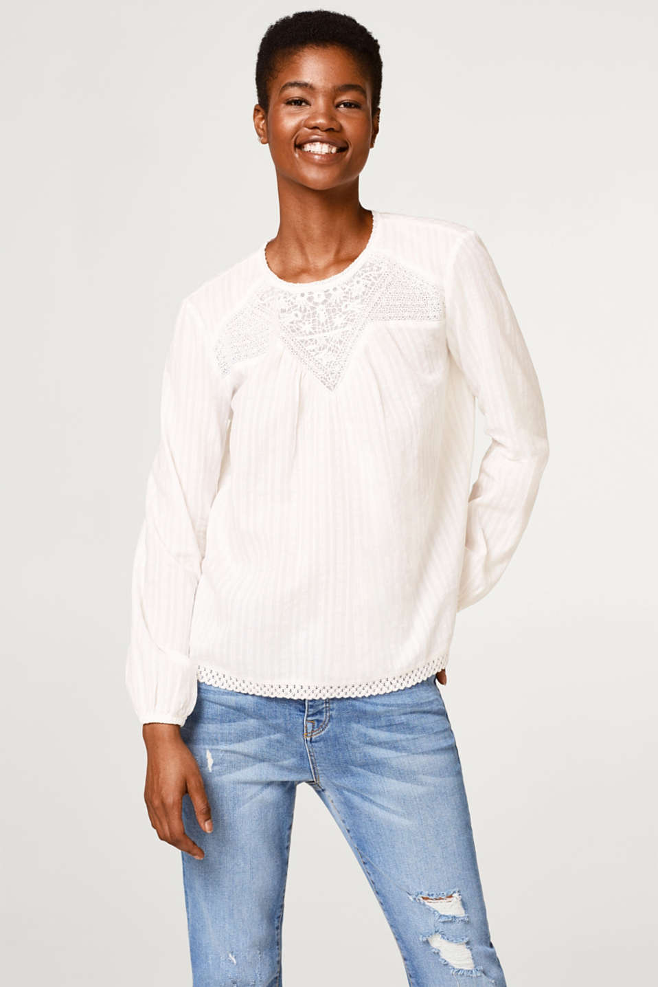 Esprit - Blouse with lace, made of cotton