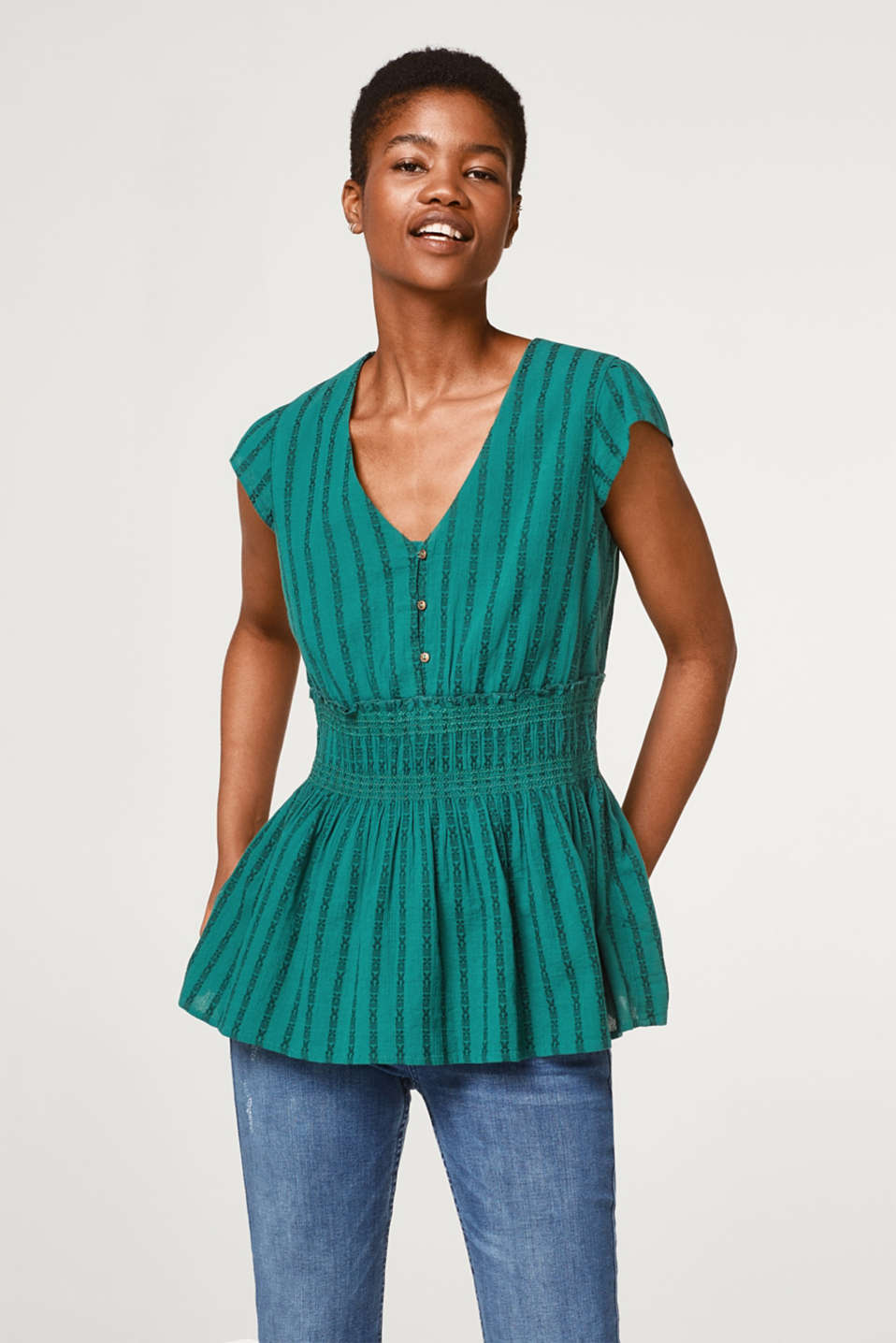 Esprit - Blouse top with a jacquard pattern and peplum