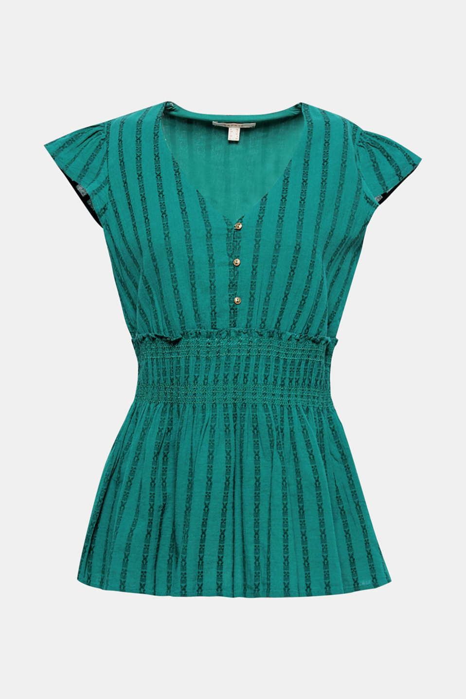 Decorative jacquard stripes, a smocked waist and swinging peplum give this blouse top its romantic flair!