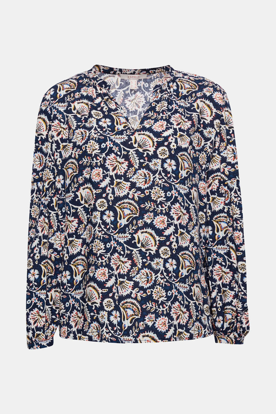 Fashionable balloon sleeves and a decorative all-over print give this Henley blouse its trendy style!