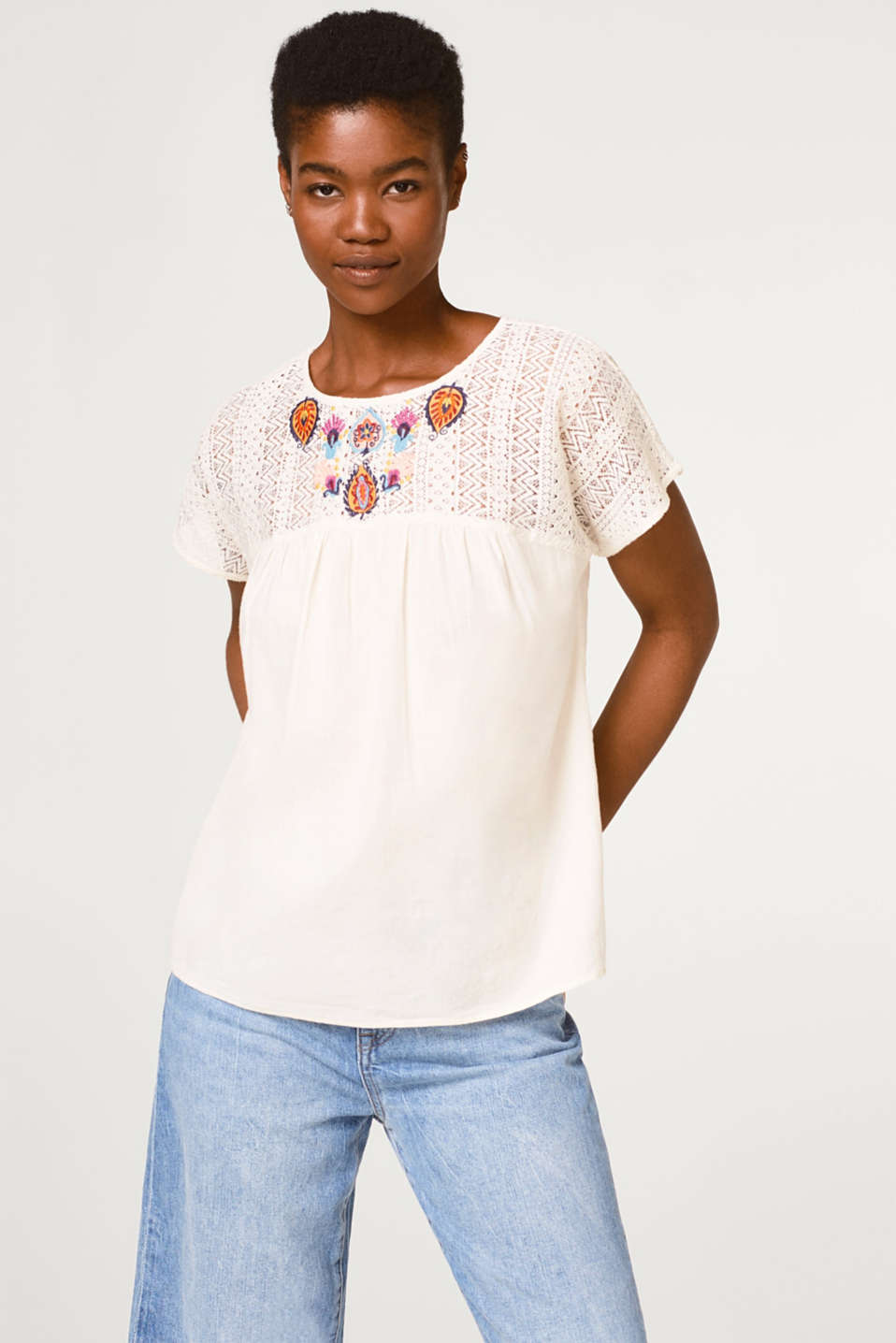 Esprit - Airy blouse top with lace and embroidery