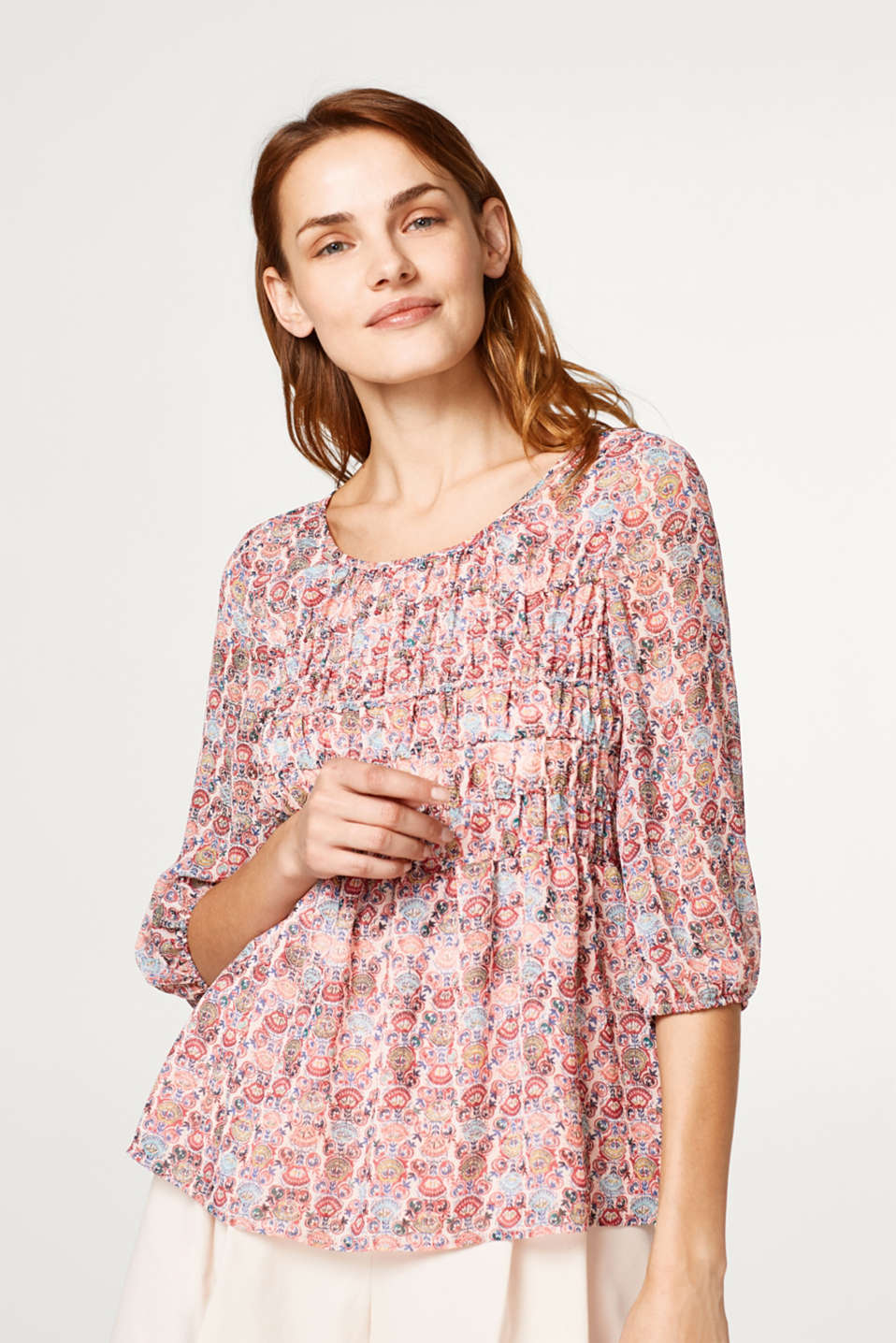 Esprit - Smocked chiffon blouse with an ornament print