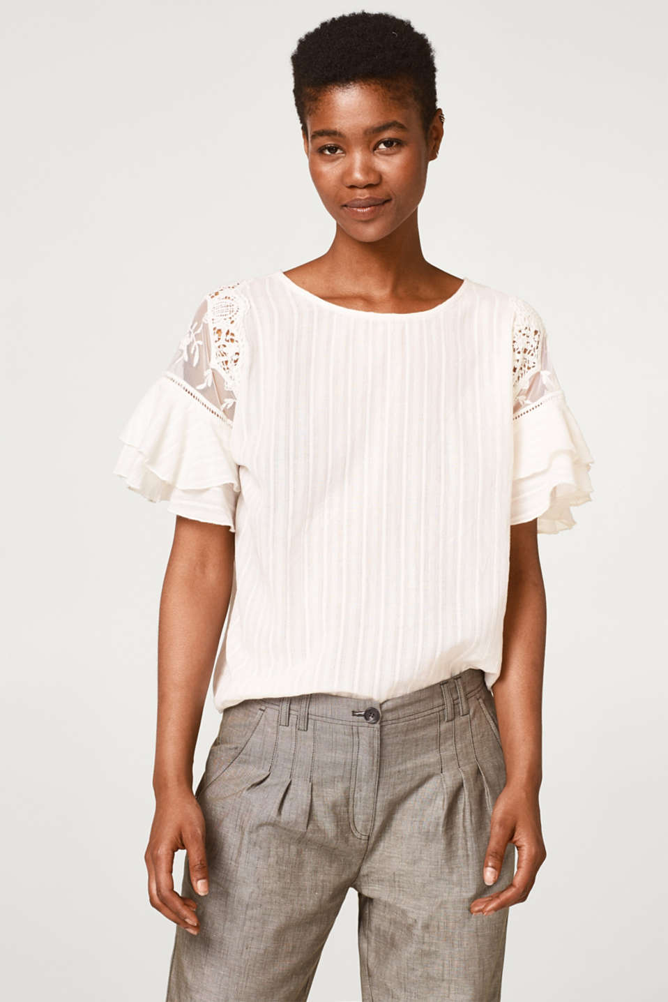 Esprit - Textured blouse with tulle and crocheted lace