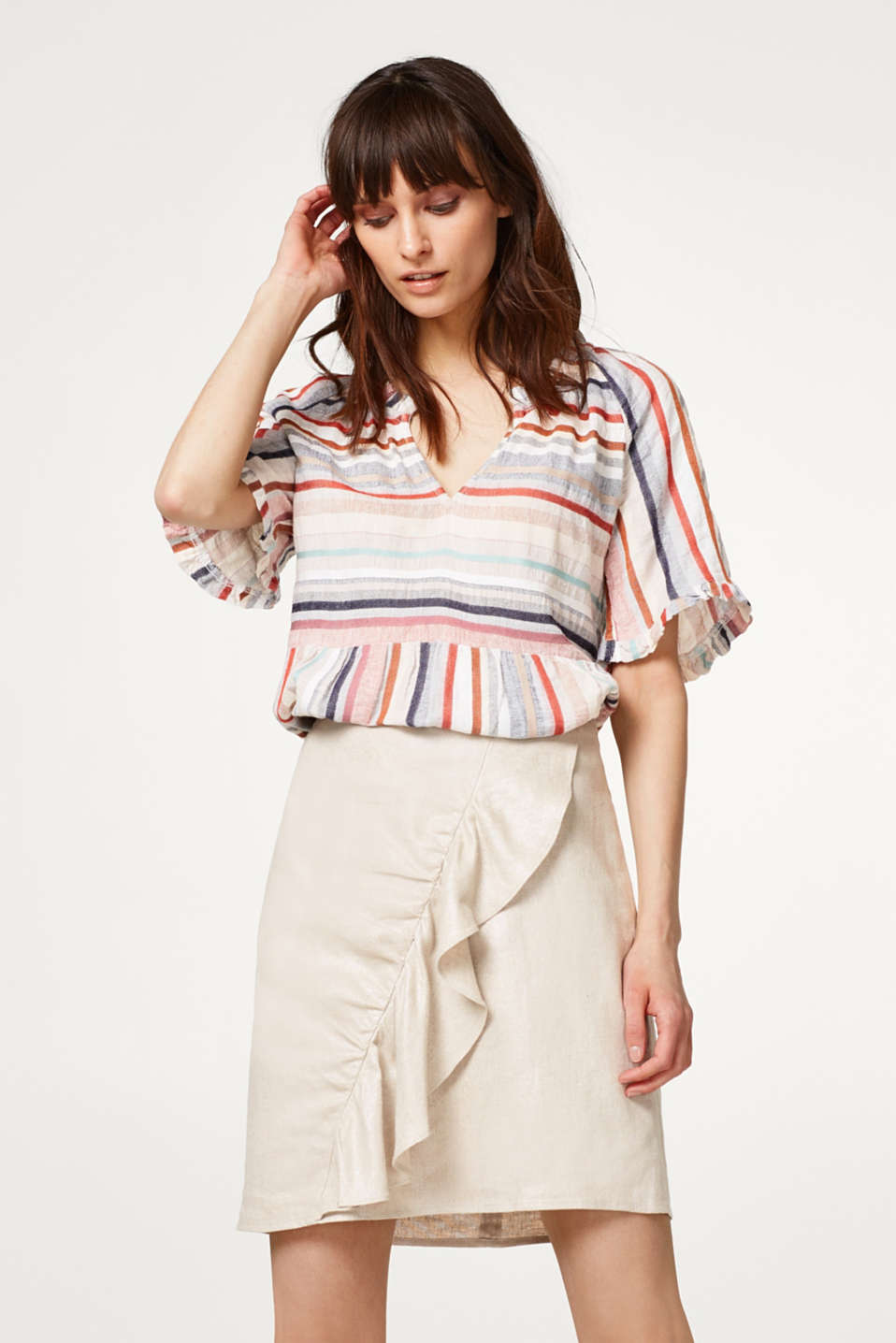 Esprit - Airy blouse with multi-coloured stripes and frills