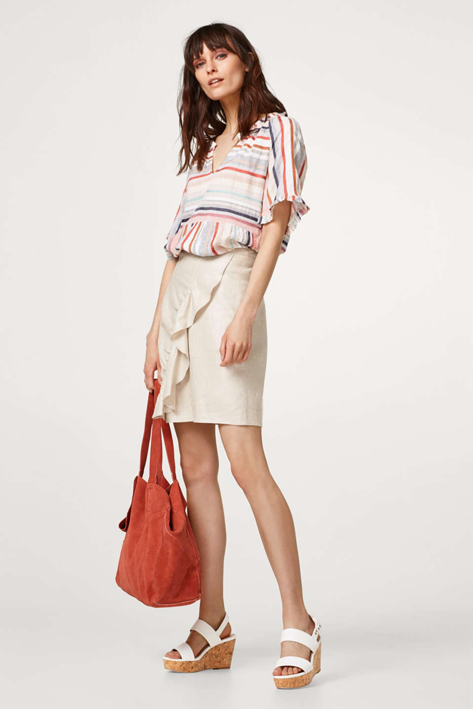 Airy blouse with multi-coloured stripes and frills