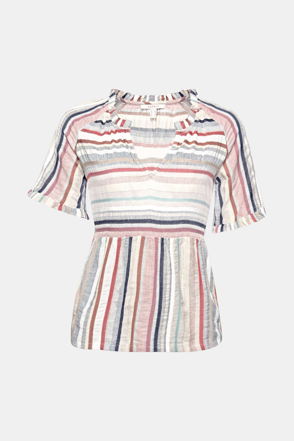 Wonderfully lightweight fabric, brightly coloured stripes and romantic, pretty frills – this feminine blouse has everything to set your heart aflutter this spring!