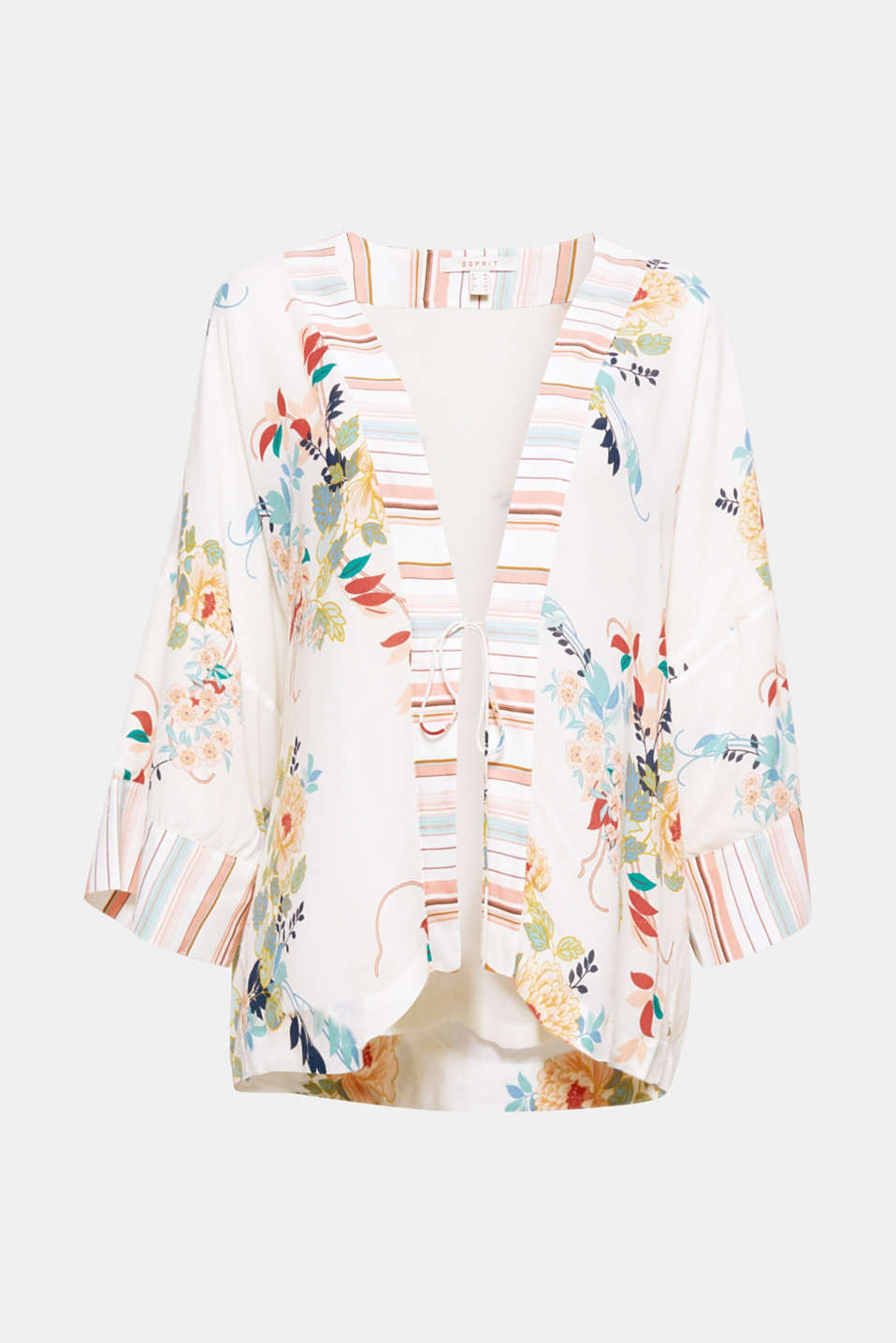 Your new fashion piece: wide kimono jacket in flowing fabric with a colourful flower and stripe print!