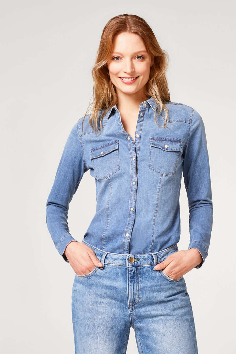 Esprit - Stretch denim shirt in a fitted cut