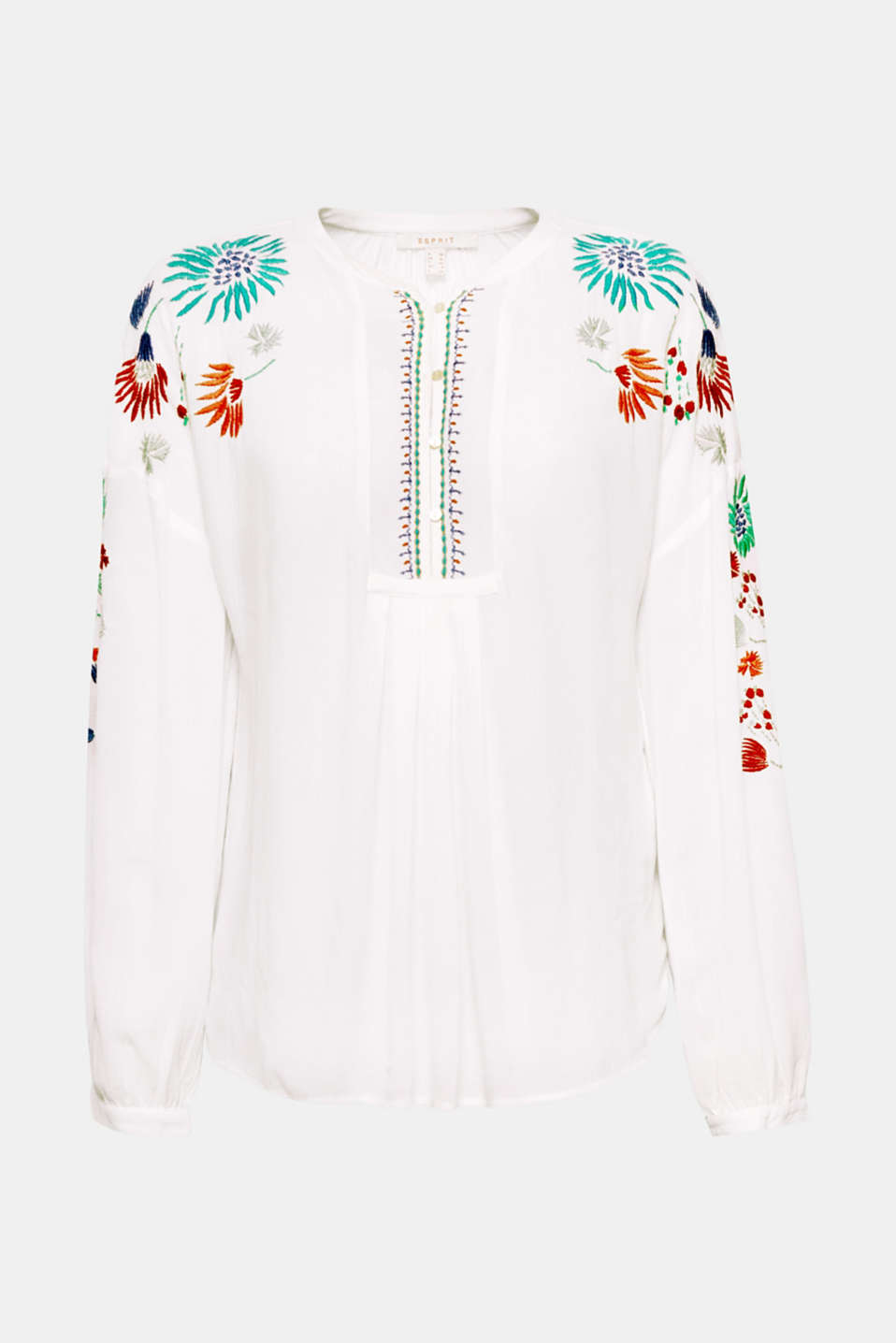 The casual tunic cut, the lightweight crinkle fabric and colourful floral embroidery make this delicate blouse a simple fashion piece!