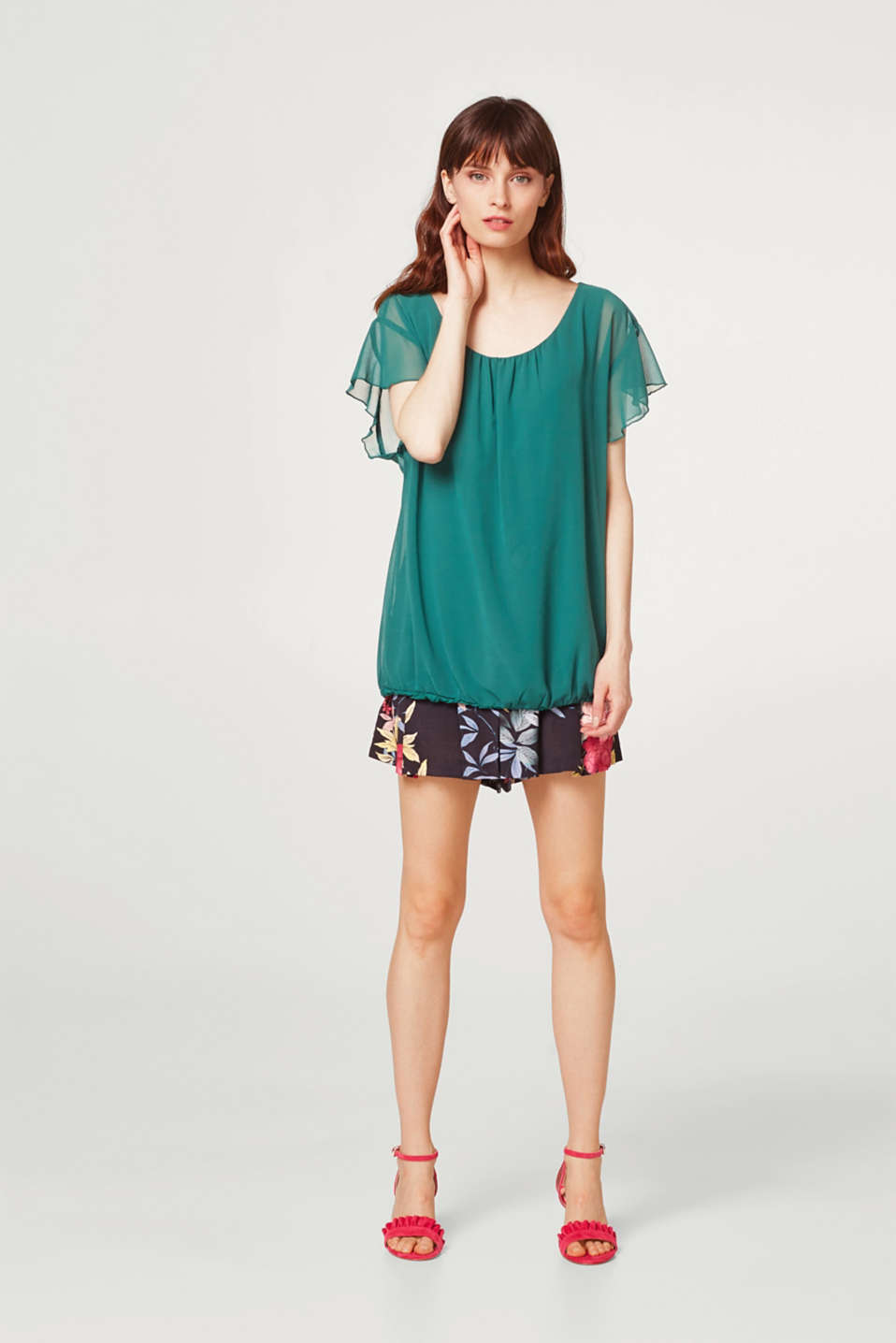 Blouse top in chiffon with flounce sleeves