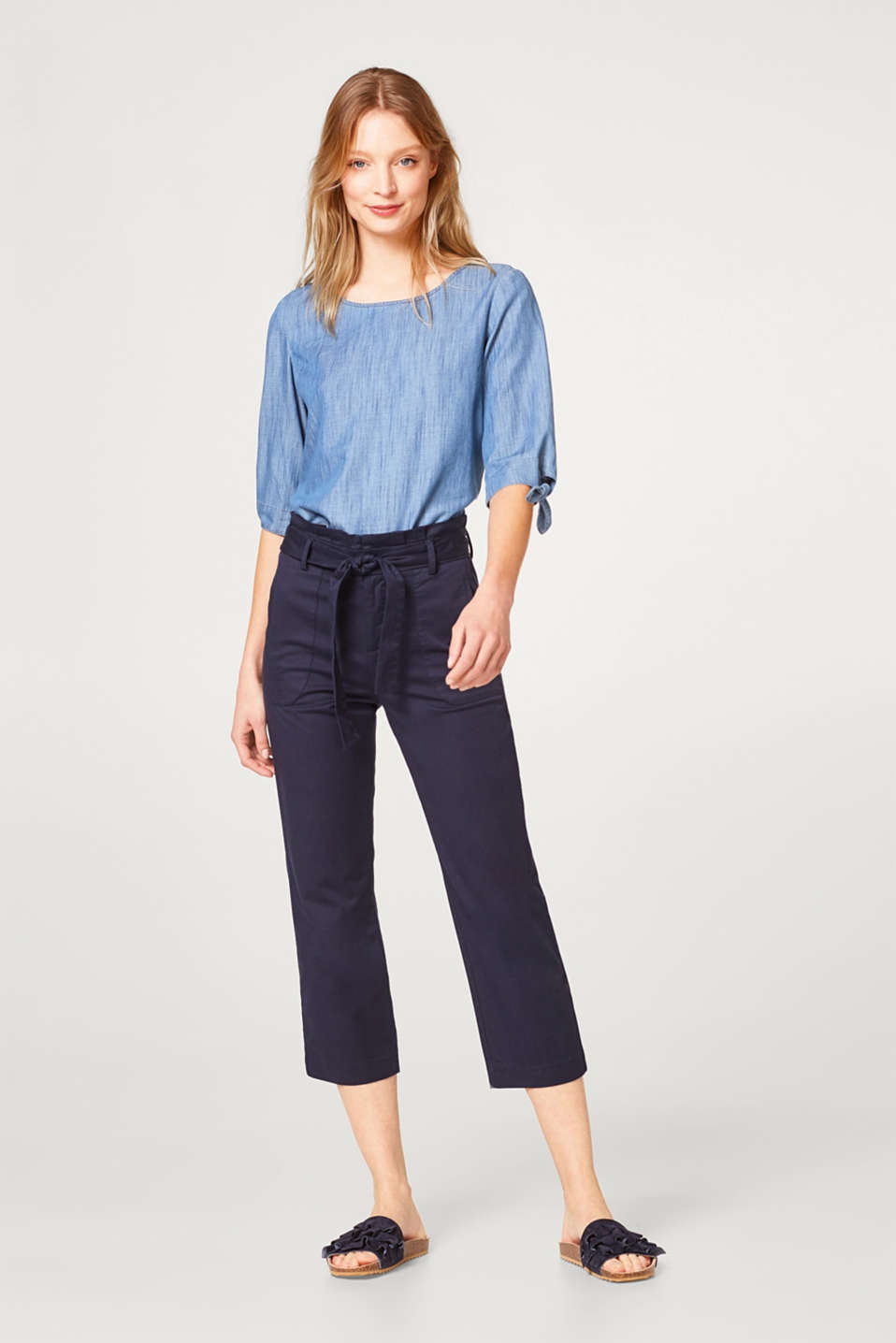 Lightweight denim blouse with bow details