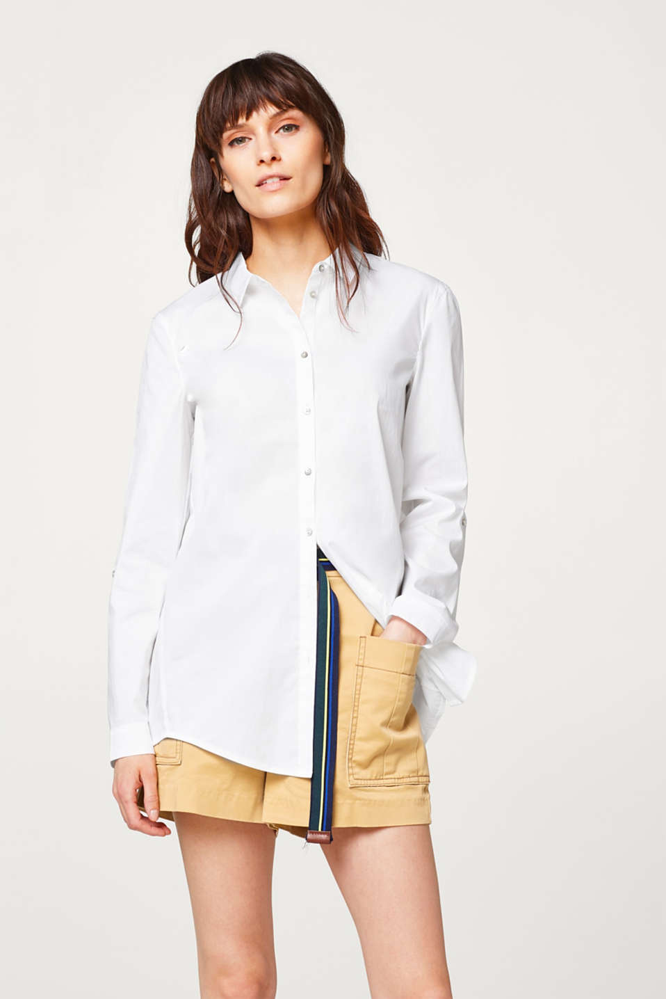 Esprit - Casual turn-up blouse in stretchy cotton