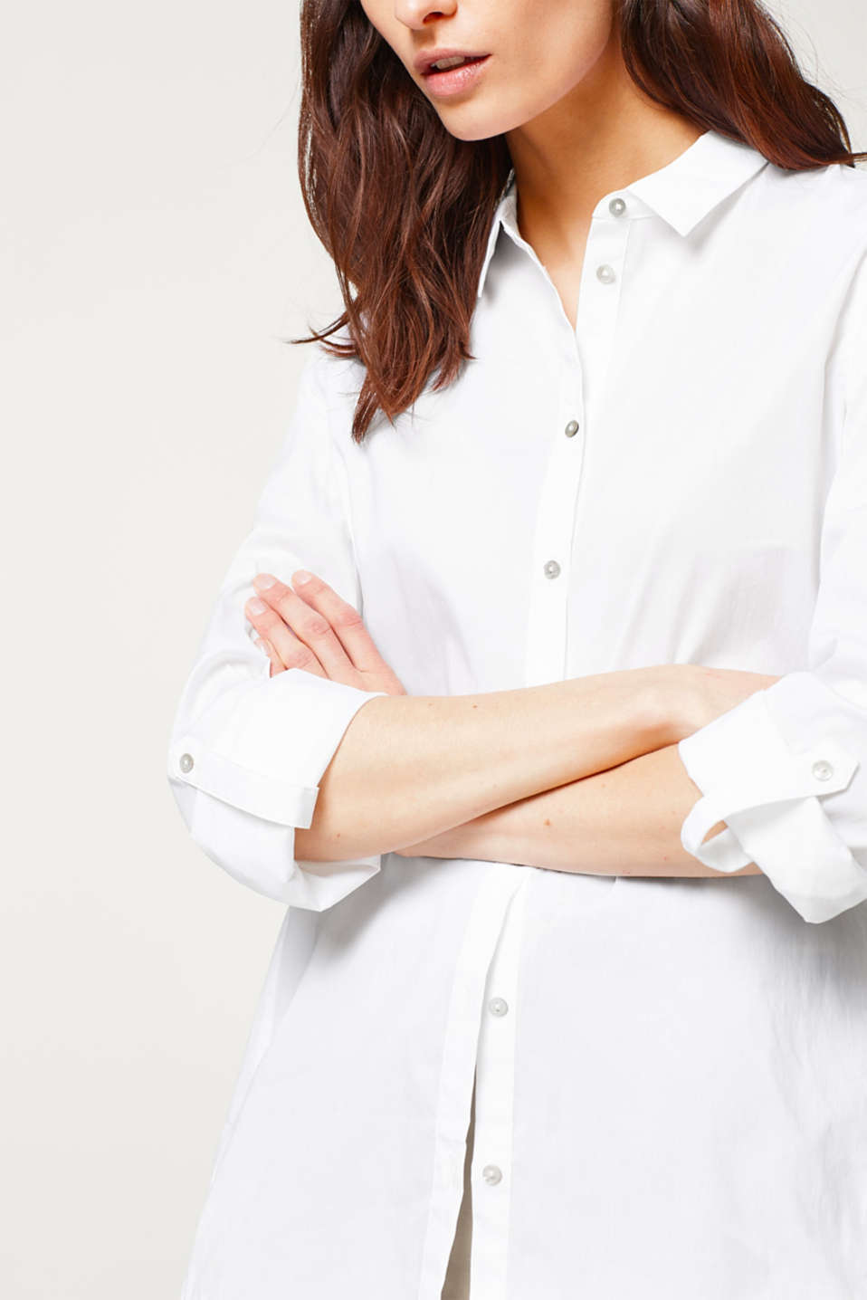 Casual turn-up blouse in stretchy cotton