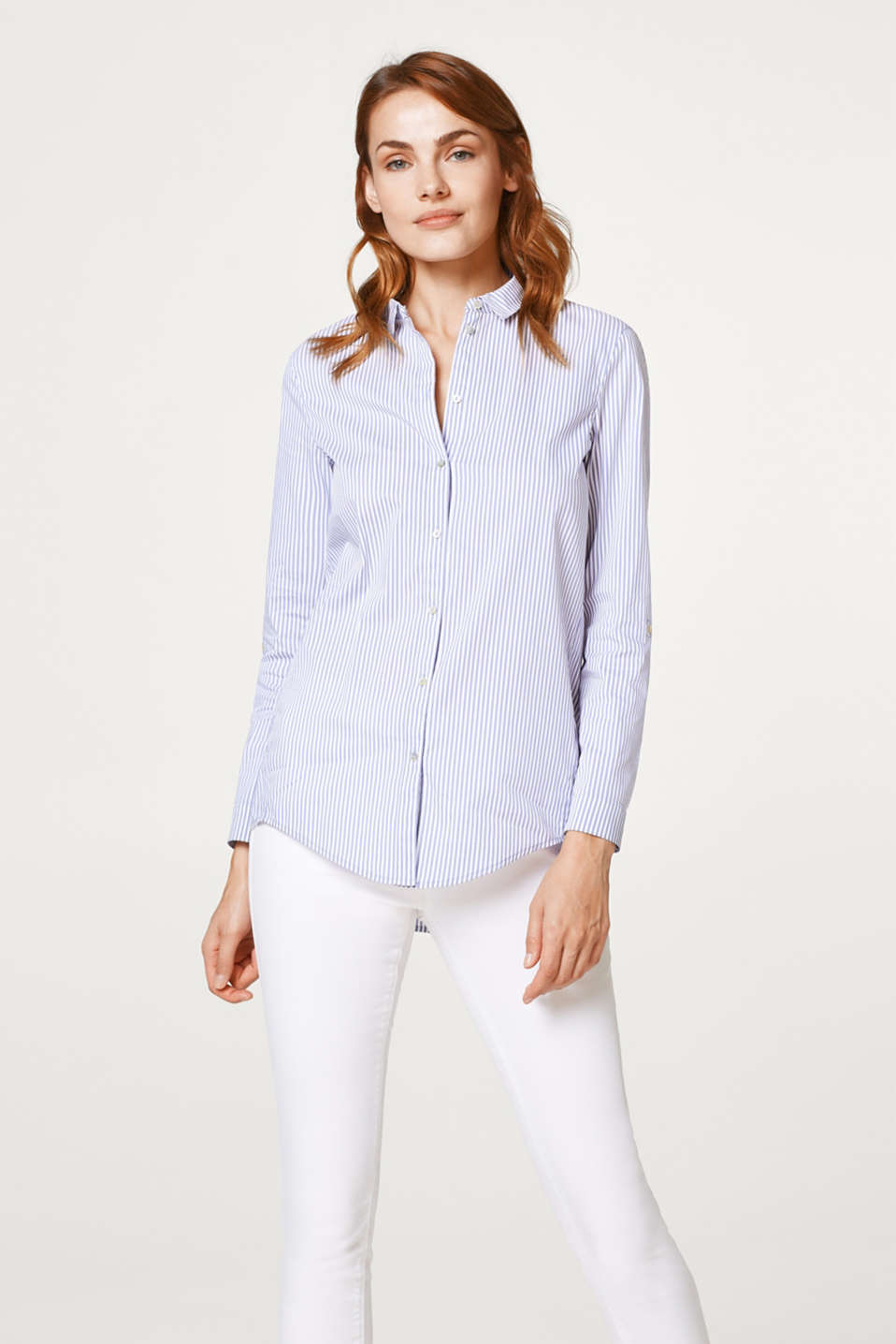 Esprit - Smooth shirt blouse with stripes and turn-up sleeves