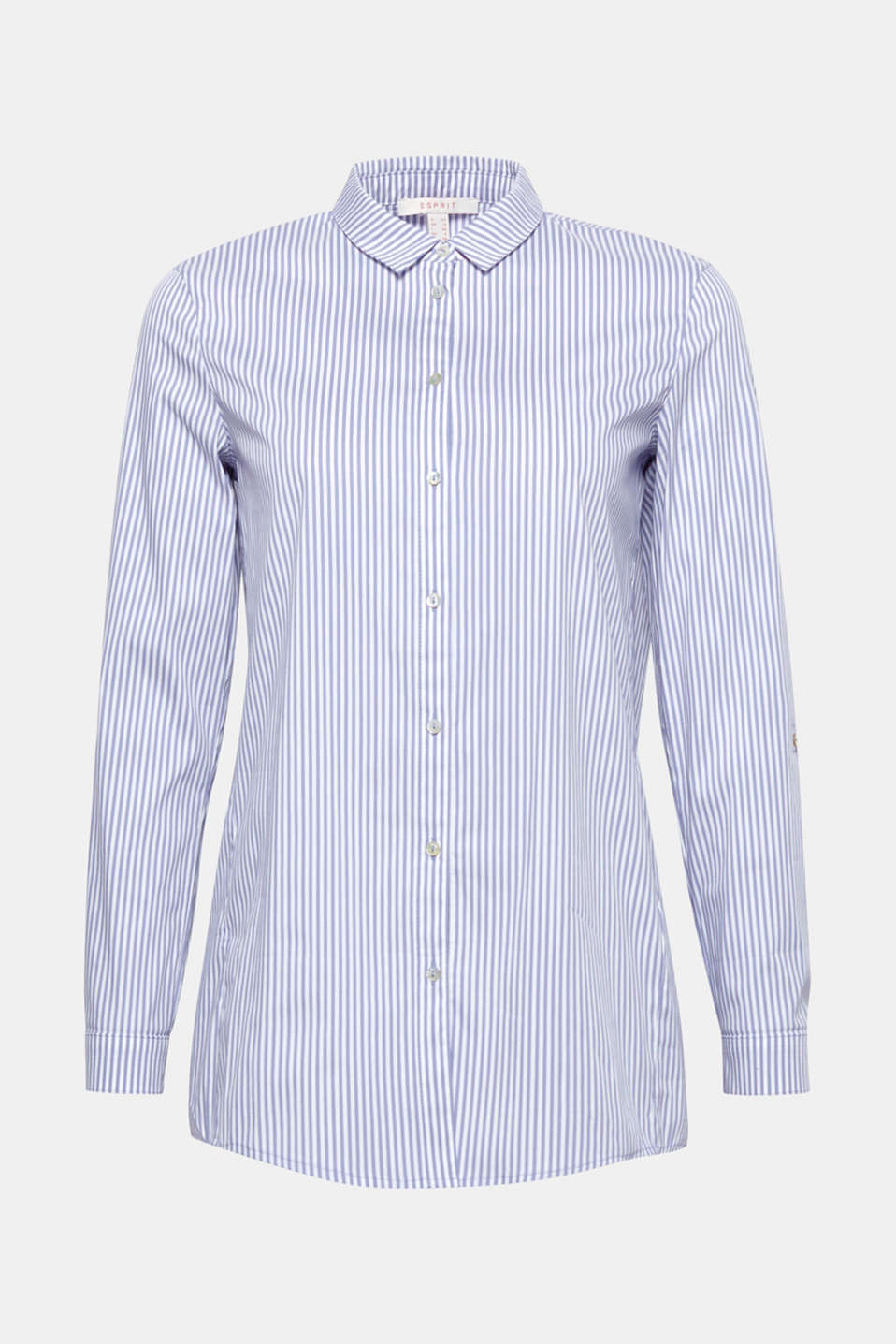 This lightweight, straight cut shirt blouse with fine vertical stripes and adjustable turn-up sleeves is simply cool!