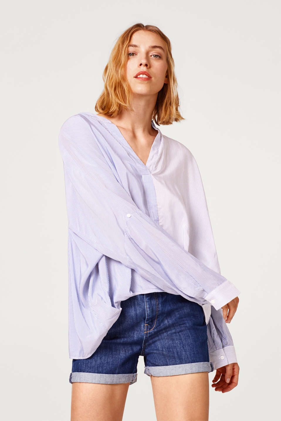 Esprit - Striped, oversized blouse with a draped effect