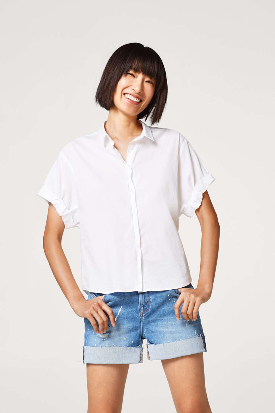 Esprit - Airy stretch cotton blouse with new details